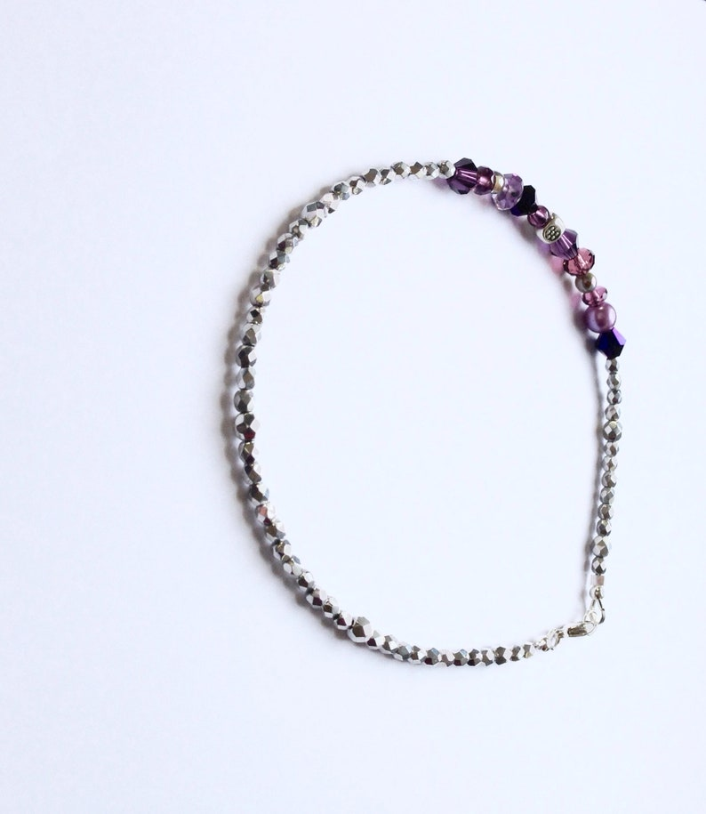 Silver and Purple Glass Beaded Anklet 10 12 Inches