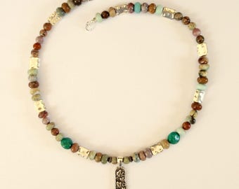 18 Inch Teal and Brown Beaded Necklace With Pewter Pendant With Hearts