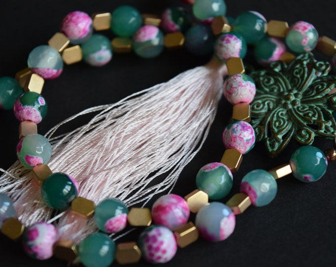 Agate Necklace Cracked Agate Pink Necklace Copper Necklace Tassel Necklace Rose Gold Necklace Green Necklace Pink Tassel
