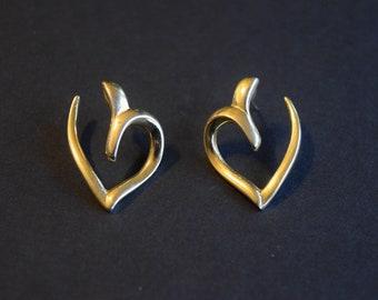 c28bbf40a1ae7f Heart Earrings, Gold Hearts, Heart Hoop Earrings, Monet Earrings, Monet  Hearts, Vintage Monet, Vintage Hearts, Vintage Earrings, Heart Cuffs