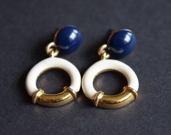 ca15f8b79eaf27 Nautical Earrings, Vintage Nautical, Monet Earrings, Vintage Earrings, Navy  Blue Earrings, Life Preserver, Classic Monet, Ocean Earrings