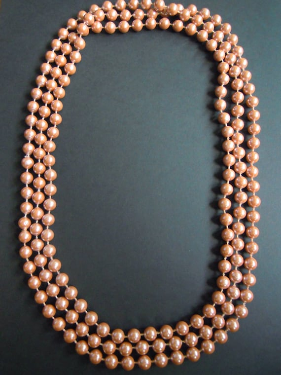 Dusty Rose Pink Pearls Long Strand Necklace Vintag