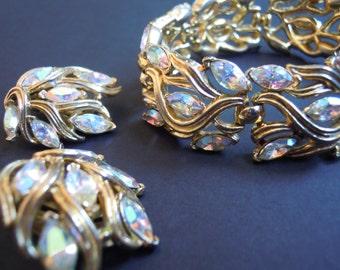 Crown Trifari Aurora Borealis Rhinestone Bracelet and Earrings Set, Vintage