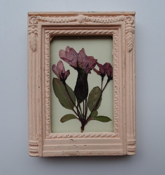 Tiny Blossom Purple Pressed Flower Art In A Pink Frame Etsy