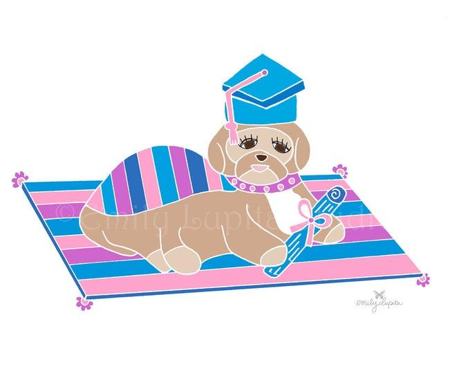 "Illustration Art Print ""Graduation Dog"" / Dog Graduation Pet Portrait  / Animal Pet Memorial / Print at Home Artwork"