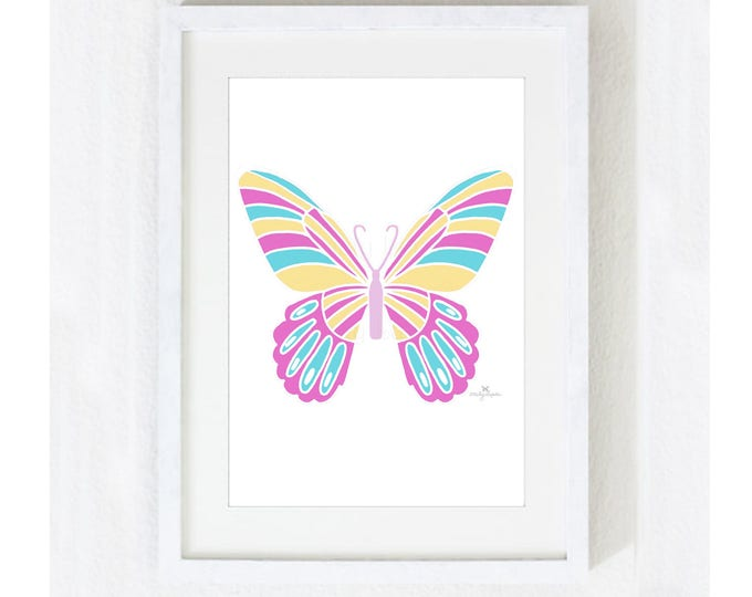 """Illustration Art Print """"Butterfly"""" / Nature Garden / Animal Home Decor / Nursery Baby Shower Gift / Unique Print at Home Artwork"""