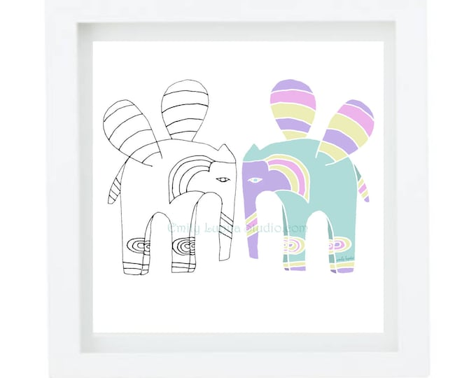 "Illustration Art Print ""Two Elephants"" / Elephant Portrait / Zen Meditation Wall Art / Nursery Baby Shower Gift / Animal Artwork"