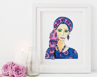 Art Print / Painting Card Invitations Stationary  / Breast Cancer Awareness Hair Scarf Hat / Wall Art Clip Art JPEG Instant Download