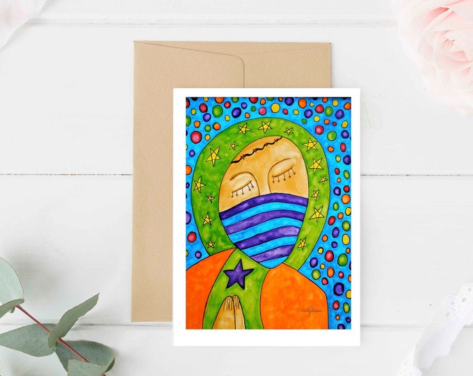 """Greeting Card """"King"""" / Christmas Card Holiday Gift / Jesus Holy Religious Baptism Mexican Folk Art / Print at Home Artwork"""