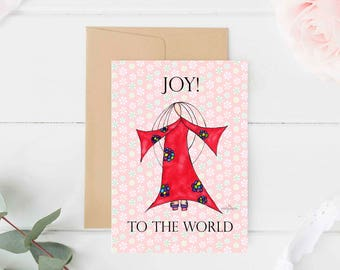 """Greeting Card """"Joy to the World"""" / Christmas Holiday / Wedding Bridal Engagement / Baby Shower Girl Angel Wings  / Print at Home Artwork"""