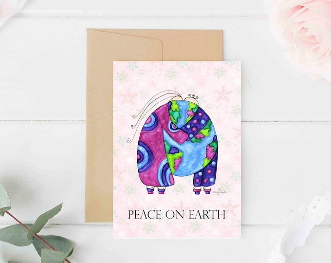 """Greeting Card """"Peace on Earth"""" / Christmas Holiday / Wedding Bridal Anniversary / Baby Shower Couple Hugs the World  / Print at Home Artwork"""