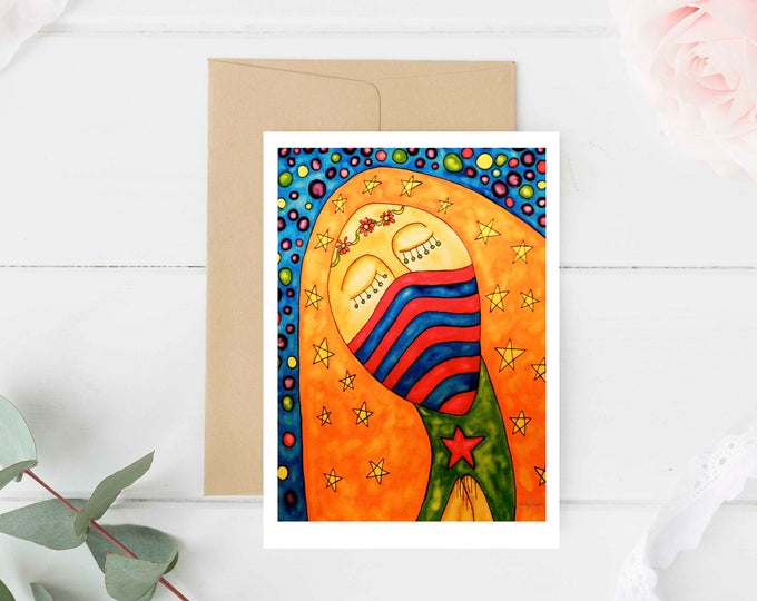 """Greeting Card """"Queen"""" / Christmas Card Holiday Gift / Guadalupe Mary Holy Mother Religious Baptism Mexican Folk Art / Print at Home Artwork"""