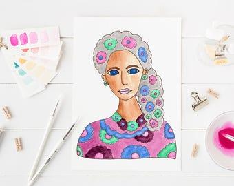 Art Print / Painting Card Invitations Stationary  / Woman Portrait Watercolor / Gray Hair Flowers / DIY Print at Home Art Work Wall Art