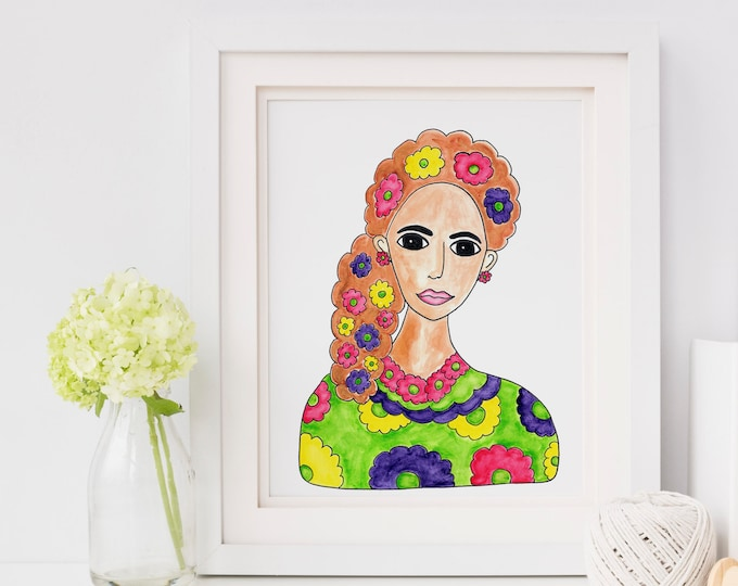 Art Print / Painting Card Invitations Stationary  / Woman Portrait Watercolor / Brunette Brown Hair Flowers / DIY Print at Home Wall Art