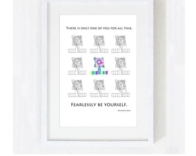 """Inspirational Quote """"Fearlessly Be Yourself"""" Instant Download / Motivational Saying / Teen Graduate Digital JPEG PDF Print at Home Artwork"""