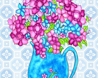 Painting / Art Print / Flower Nature Garden / Unique Artwork Gift /Mother Children  Nursery Baby Shower Girl's Room / Blue Flower Pitcher