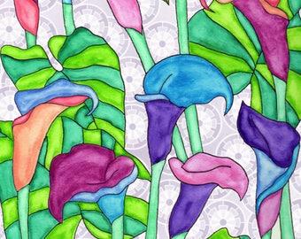 Painting / Art Print / Flower Nature Garden / Unique Artwork Gift /Mother Children  Nursery Baby Shower Girl's Room / Calla Lilies