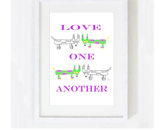 """Inspirational Quote """"Love One Another"""" / Motivational Spiritual Family / Wedding Engagement Marriage Anniversary / Print at Home Artwork"""