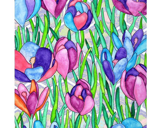 Painting / Art Print / Flower Nature Garden / Unique Artwork Gift /Mother Children  Nursery Baby Shower Girl's Room / Tulips