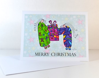 "Greeting Card ""Merry Christmas"" / Christmas Card Holiday Gift / Spiritual Religious / Print at Home Artwork"