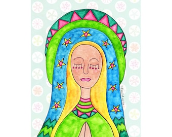 """Painting / Art Print / Holy Mother / Guadalupe / Virgin Mary / Mexican American Folk Art / Mother's Day / Spiritual Peace """"SKY"""" / Watercolor"""