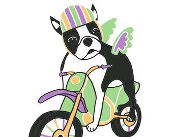 CUSTOM LISTING: Boston Terrier on a Motorcycle / Motor Bike