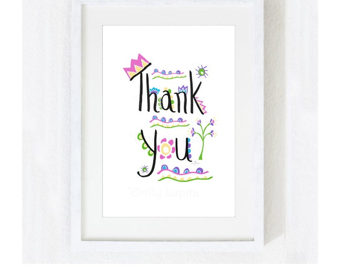 """Inspirational Quote """"Thank You"""" / Motivational Gratitude Zen / Mother's Day Gift / Teacher School Classroom / Colorful Print at Home Artwork"""