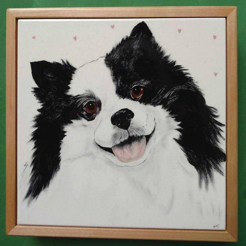 Dog Portrait Tile-8 set into keepsake box lid image 0