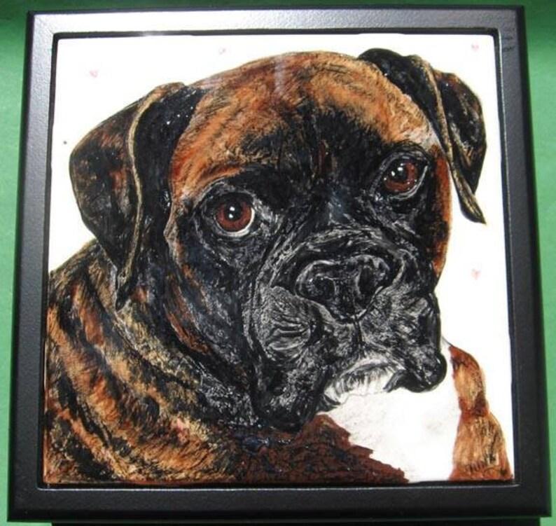 Dog Portrait Tile-6 set into keepsake box lid image 0