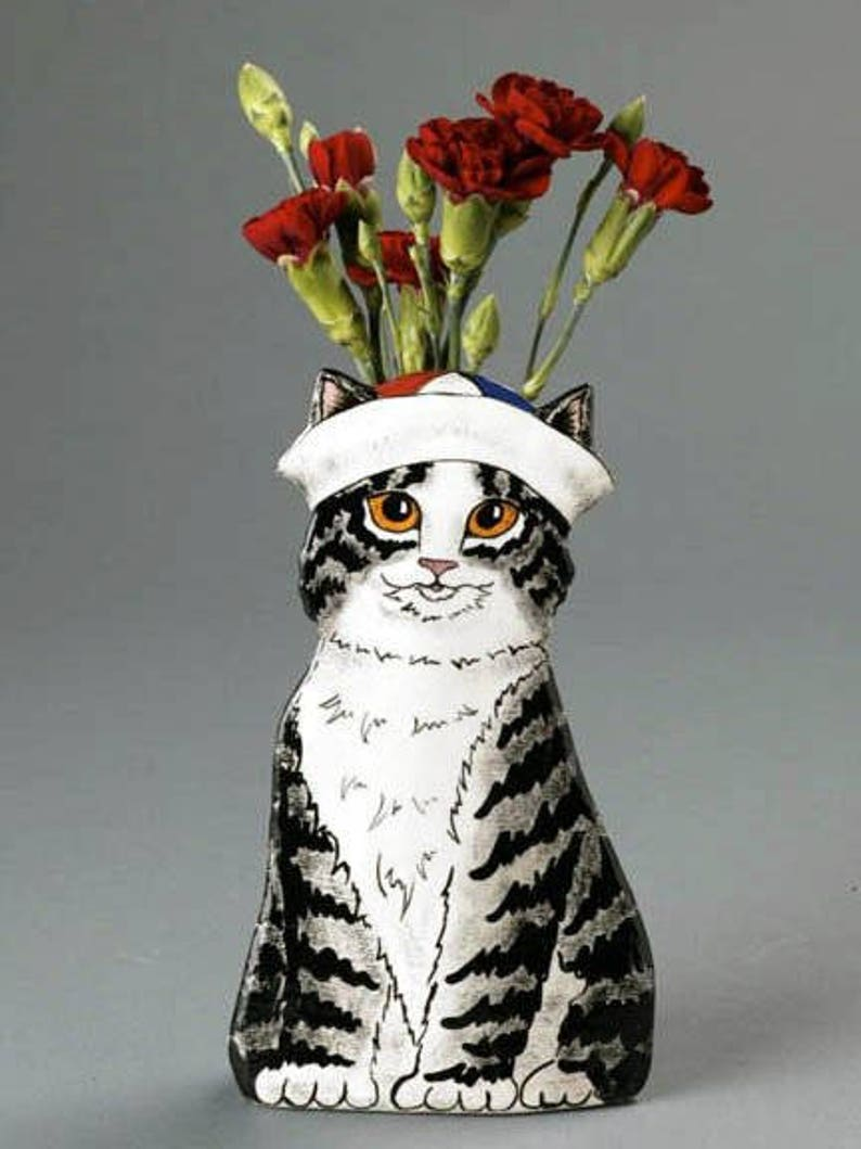 Sailor Kitten Vase from my Cats In Hats Collection image 0