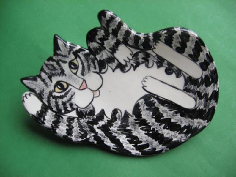 CAT SPOON REST  or soap dish  trinket holder or tea bag image 0