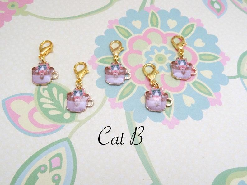 Knitting Marker Set of 5 Gold Cat Stitch Markers for Crochet Progress Marker WIP Marker Removable Stitch Marker
