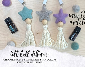 CAR DIFFUSER // Essential Oil Diffuser // Wool Ball Diffuser // Star Felt Ball Diffuser for Essential Oils in Car, Car Vent Clip