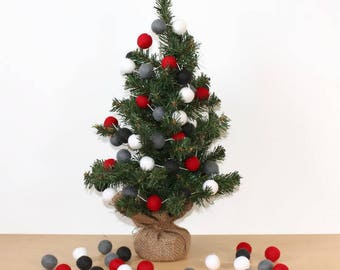 Christmas Red and Grey Felt Ball Garland, Pom Pom Garland, Nursery Decor, Bunting Banner, Party Decor, Holiday
