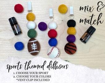Sports Themed CAR DIFFUSER // Essential Oil Diffuser // Wool Ball Diffuser // Wool Felt Diffuser for Essential Oils in Car, Car Vent Clip