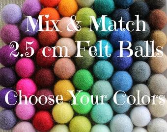 2.5 cm Wool Felt Balls: CUSTOM COLORS, Felted Balls, DIY Garland Kit, Wool Felt Balls, Felt Pom Pom, Handmade Felt Balls, Custom Felt Balls