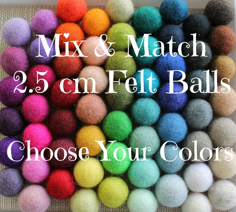 2.5 cm Wool Felt Balls: CUSTOM COLORS Felted Balls DIY image 0