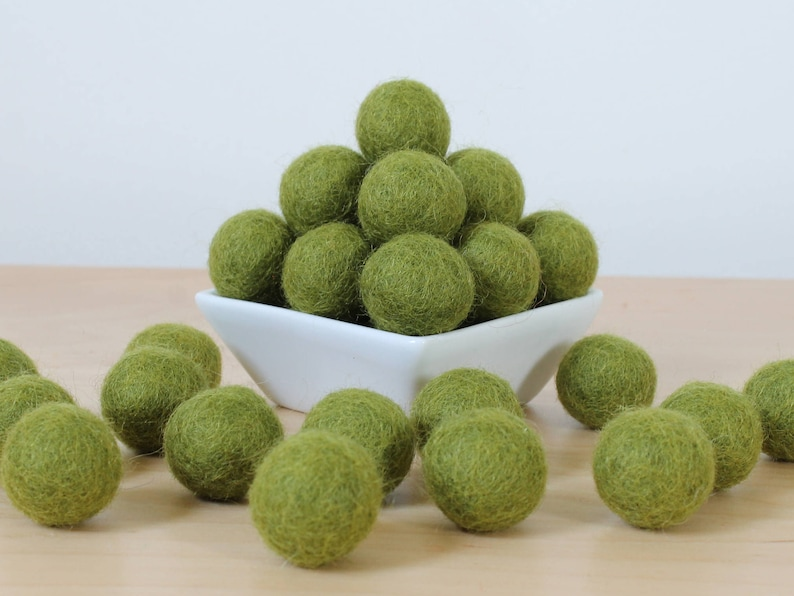 Felt Pom Pom Green Felt Balls DIY Garland Kit Felt Balls: ASPARAGUS Felted Balls Handmade Felt Balls Green Pom Poms Wool Felt Balls