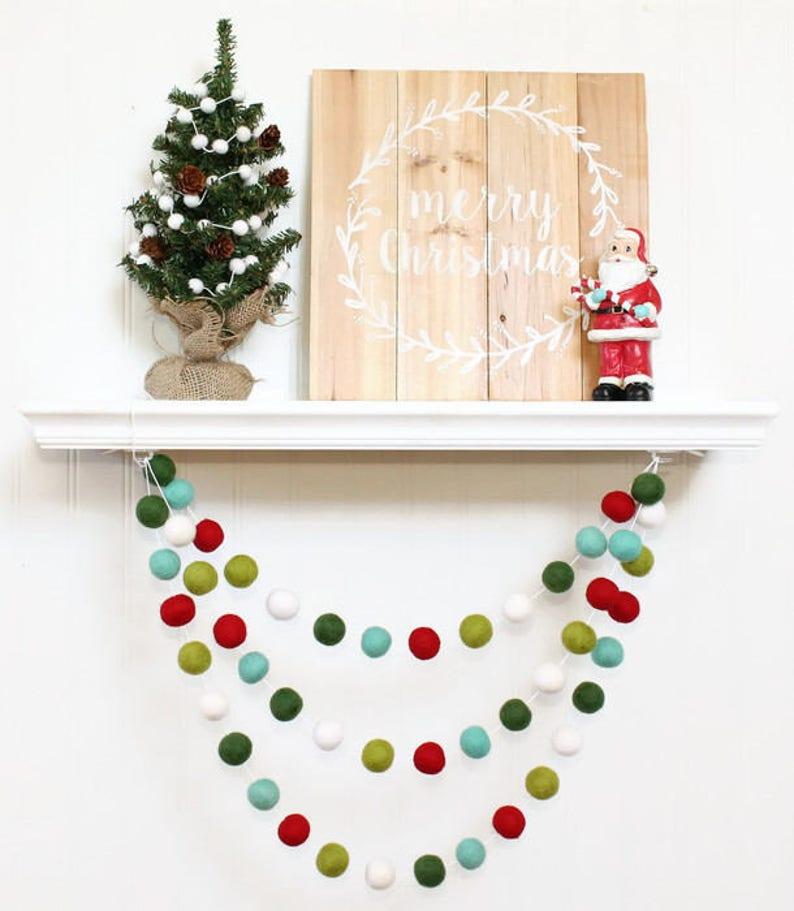 Retro Christmas Felt Ball Garland Pom Pom Garland Nursery image 1