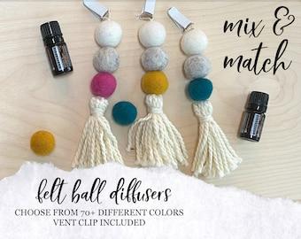 CAR DIFFUSER // Essential Oil Diffuser // Wool Ball Diffuser // Wool Felt Ball Diffuser for Essential Oils in Car, Car Vent Clip