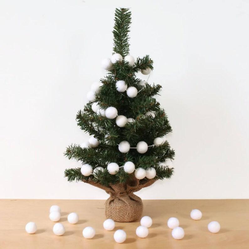 White Felt Ball Garland For Christmas Trees Pom Pom Garland White Felt Balls Christmas Tree Decor Christmas Party Decor White Christmas