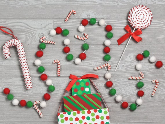 Candy Cane Forest Felt Ball Garland Christmas Pom Pom Etsy