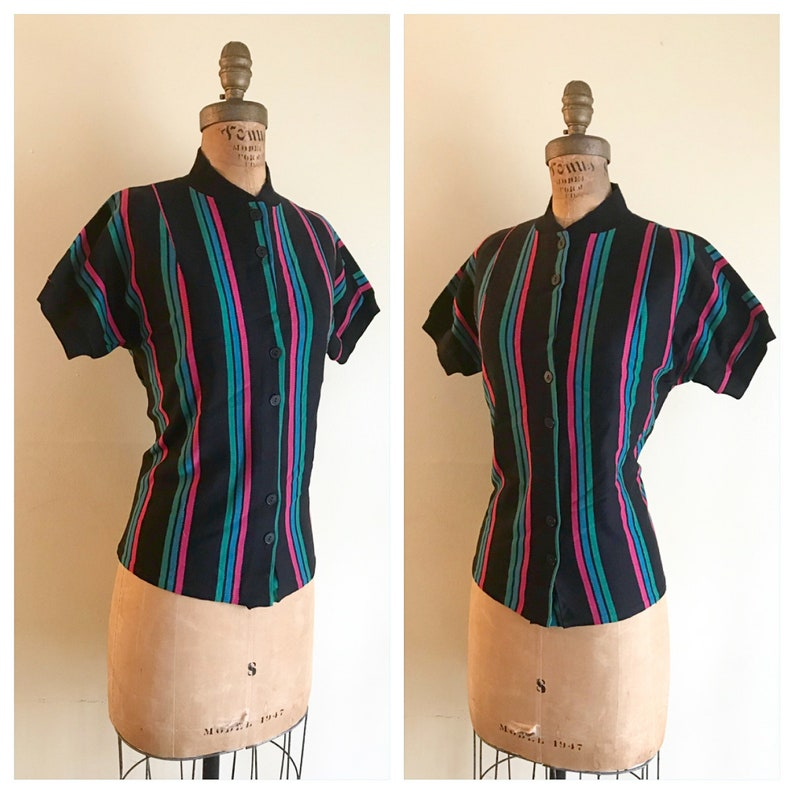 Green Double Button Down Wool Blend Cuffed /& Ribbed Blouse Top Shirt M L Blue STRIPES STRIPED 1960/'s Vintage 1960s Women/'s Jet Black Pink