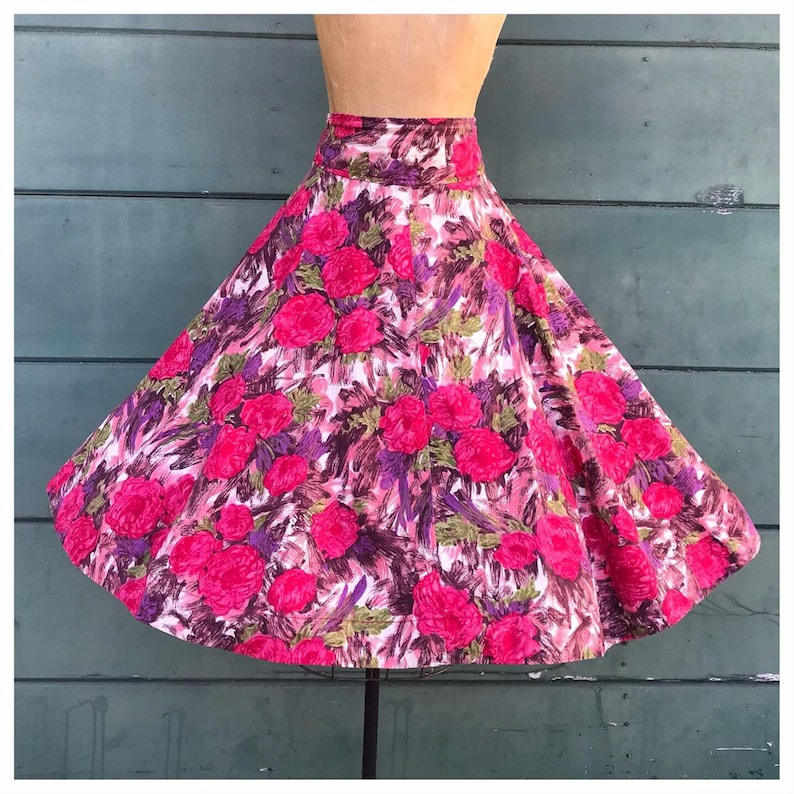 FUCHSIA PINK IMPRESSIONIST Floral 1950/'s 1950s Style 1990/'s 1990s Buckleback High Waist Banded Cocktail Party Dress Circle Skirt L Xl