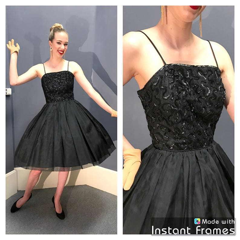 BLACK SWAN 1950/'s Vintage 1950s 60\u2019s 60s Lace Taffeta Organza Sequined Soutache Holiday Party Evening Prom Cocktail Dress Circle Skirt Xs S