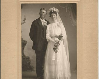 Turn of the Century Vintage Photograph Wedding Picture Bride and Groom Cabinet Photograph Victorian
