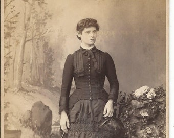 Antique Cabinet Photograph Young Woman In Mourning