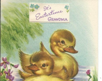 Vintage  Lot of 3 Easter Greeting Cards Flowers Chicks Kittens