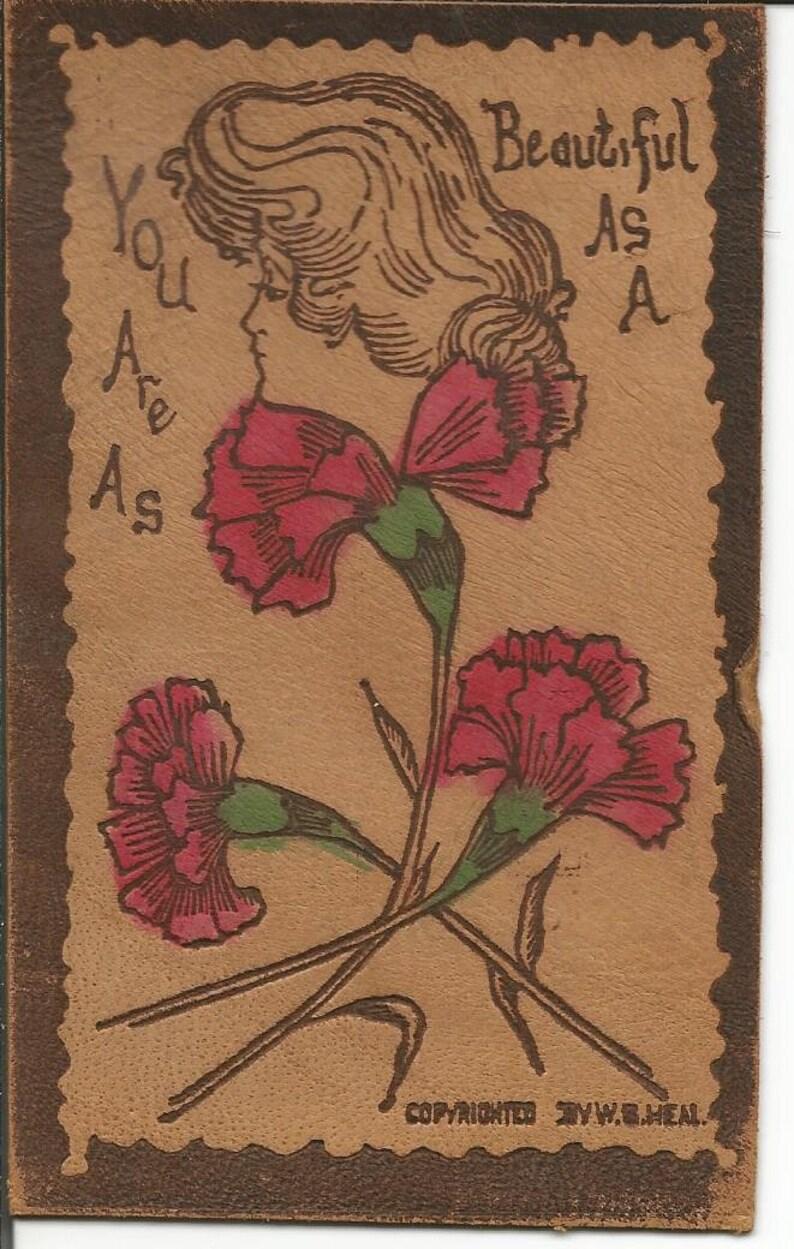 Antique 1906 Leather Carnation with Women/'s Head Art Nouveau Postcard