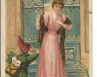 Antique 1910's New Year's Day Postcard Elf Troll